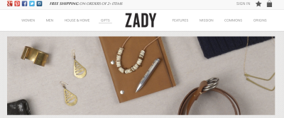 Zady Website: Gift Section makes me so happy