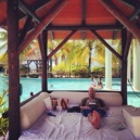 What a difference a 24 months make -- Hubby Man chillaxing in a Bali Bed